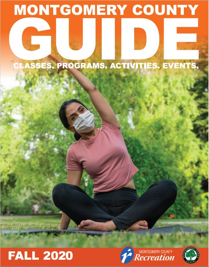 Montgomery County Guide Fall 2020 Cover Image - a woman doing yoga with a mask on