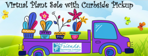 """Graphic Illustration of a purple pick up truck with plants in thebed, reading """"Virtual Plant Sale with Curbside Pickup"""" Sponsored by Friends of Brookside Gardens"""
