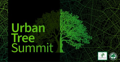 Logo graphics for Urban Tree Summit, presented by Montgomery parks and Caseys Trees