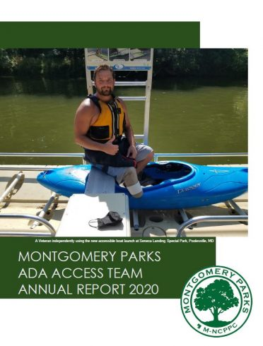 Access Team Annual Report Cover - Accessible Outdoor Recreation, Wounded Veteran using an accessible boat launch