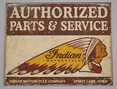 Indian Motorcycle Auth Parts Service Sign