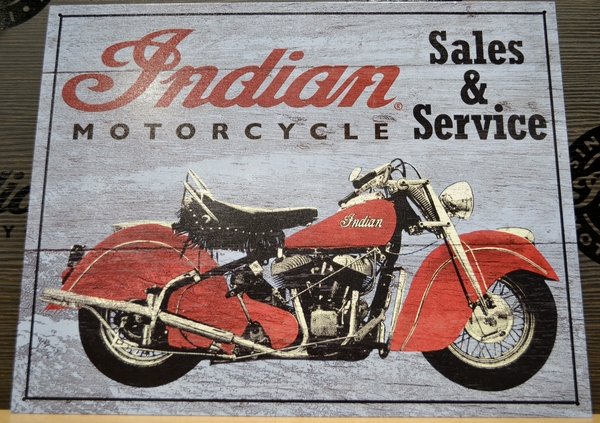 Indian Motorcycle Auth Sales Service Sign