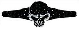 Skull & Black Stone Hair Ringz