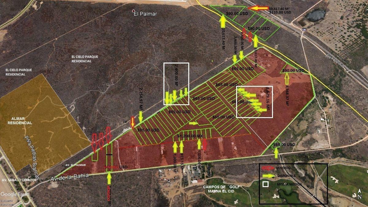 1 de 3: Vista de terrenos disponibles con precios y áreas de C/U