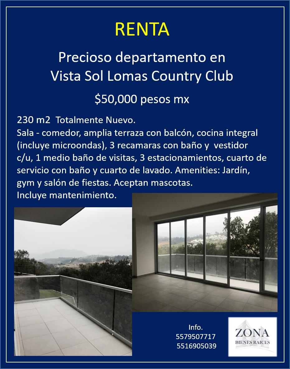 Renta Precioso Depto En Vista Sol Lomas Country Club