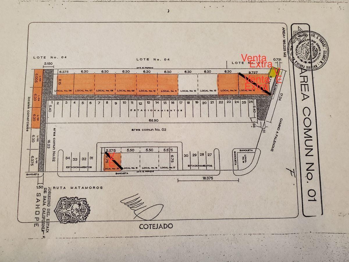 3 de 4: Plano; locales en venta en color naranja. Terr. 500 m2