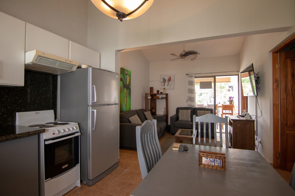 2 of 13: Living room and remodeled kitchen