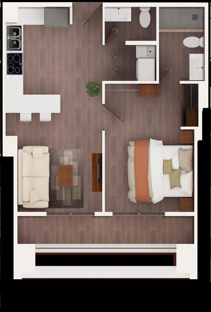 14 de 17: Apto de 1 dormitorio pequeño