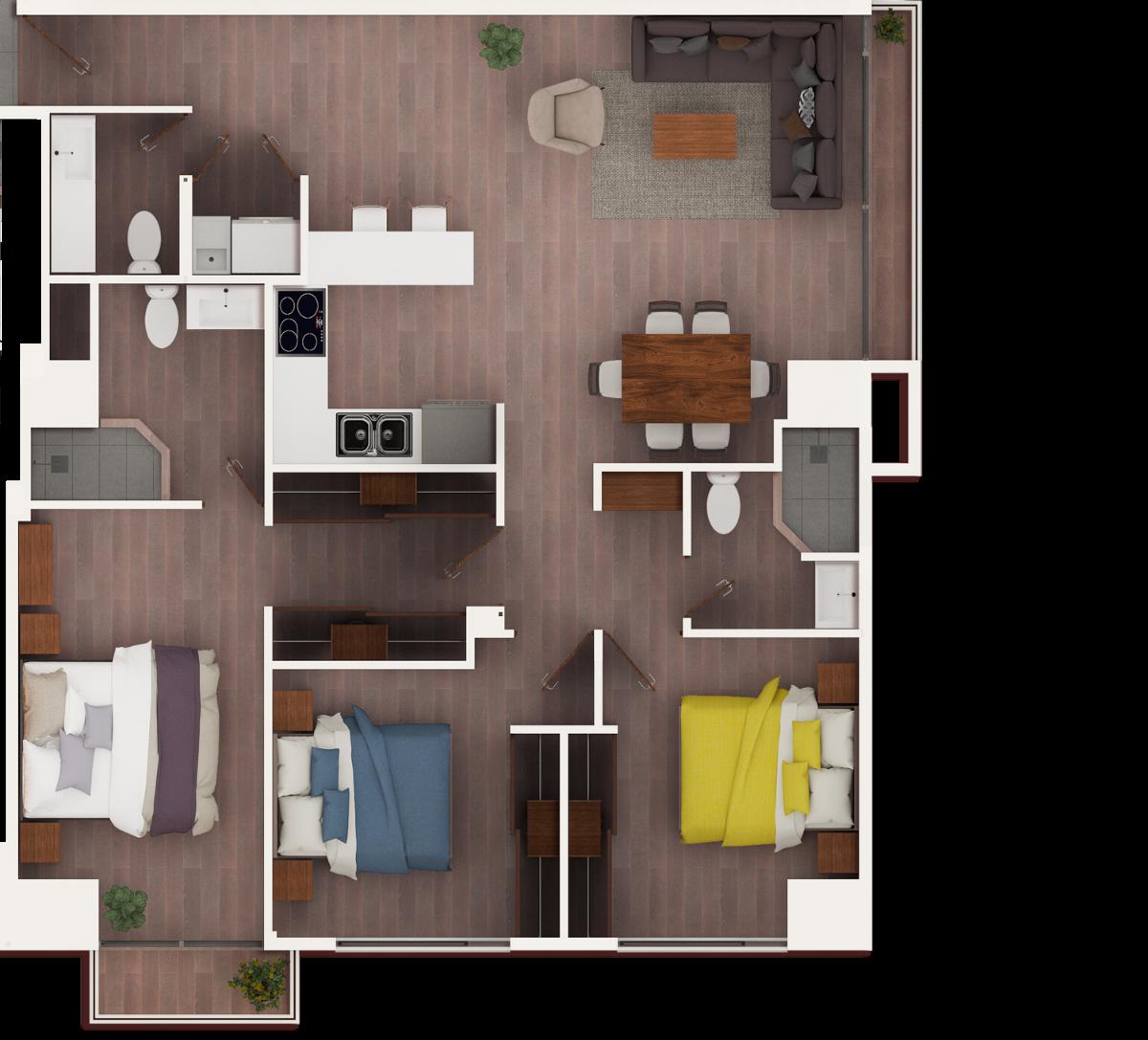 17 de 17: apto de 3 dormitorios