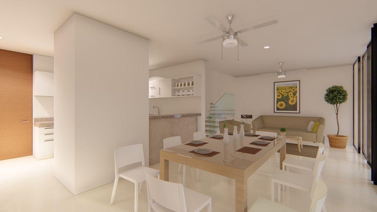 10 de 12: Otra vista de sala comedor y cocina integrada.