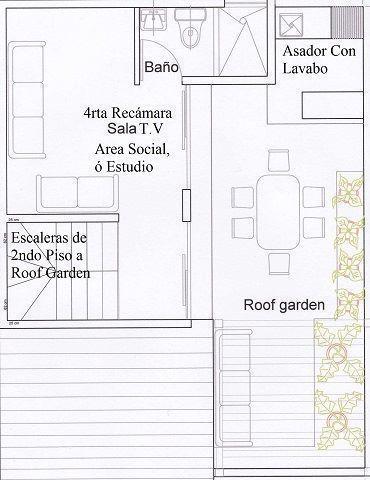 12 de 22: PLANO DE DISTRIBUCION 3ER PISO CON ROOF GARDEN PARA C/CASA