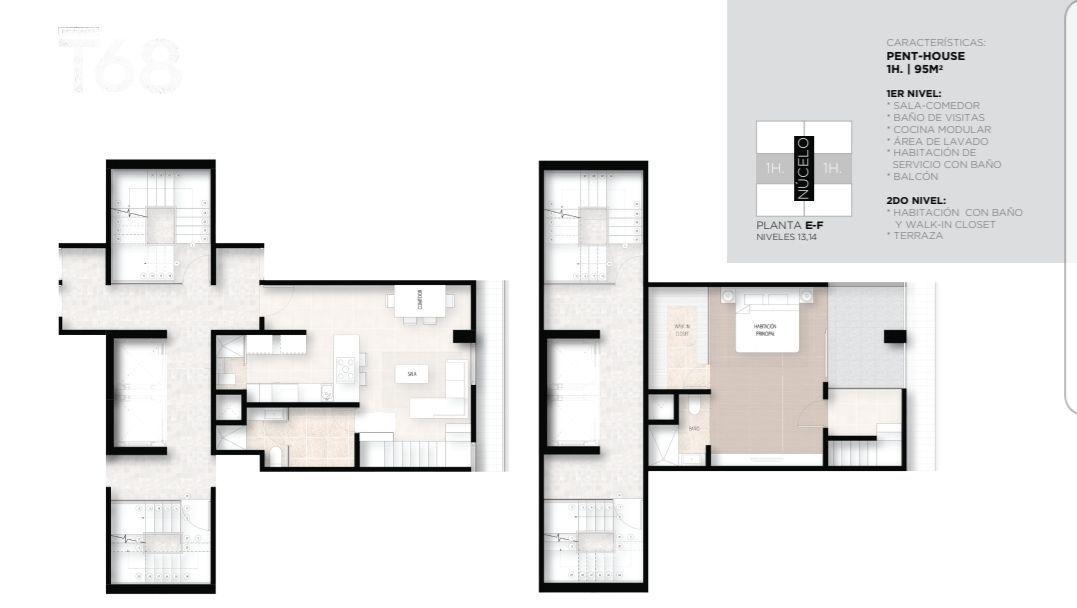 10 de 17: Pent House de 1 Habs con 95 mt2