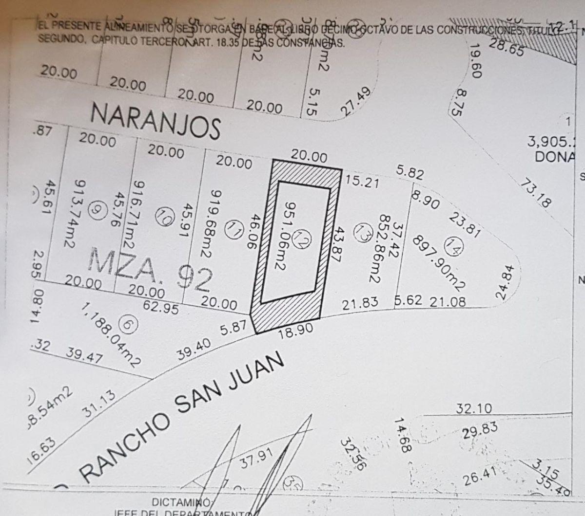 11 de 12: Plano con medidas Terreno