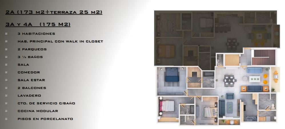 11 de 13: 2A (173 m2+terraza 25 m2) 3A y 4A (175 M2) ? 3 HABITACIONES
