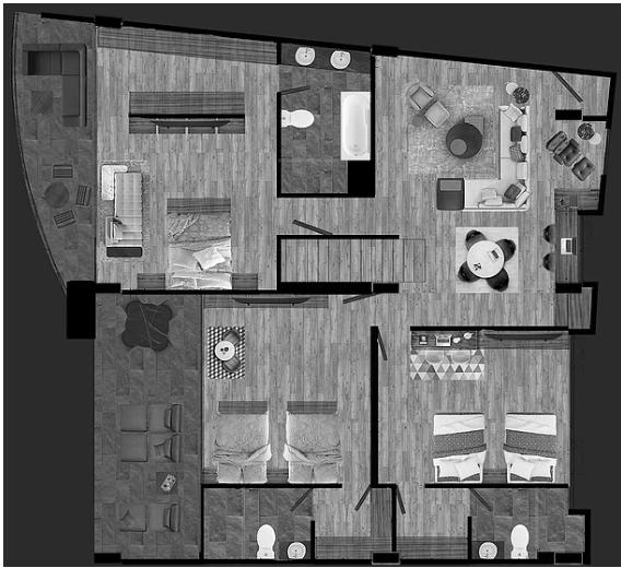 2 de 2: Distribución de planta arquitectónica
