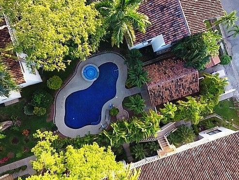 1 of 21: Aerial view pool and gardens