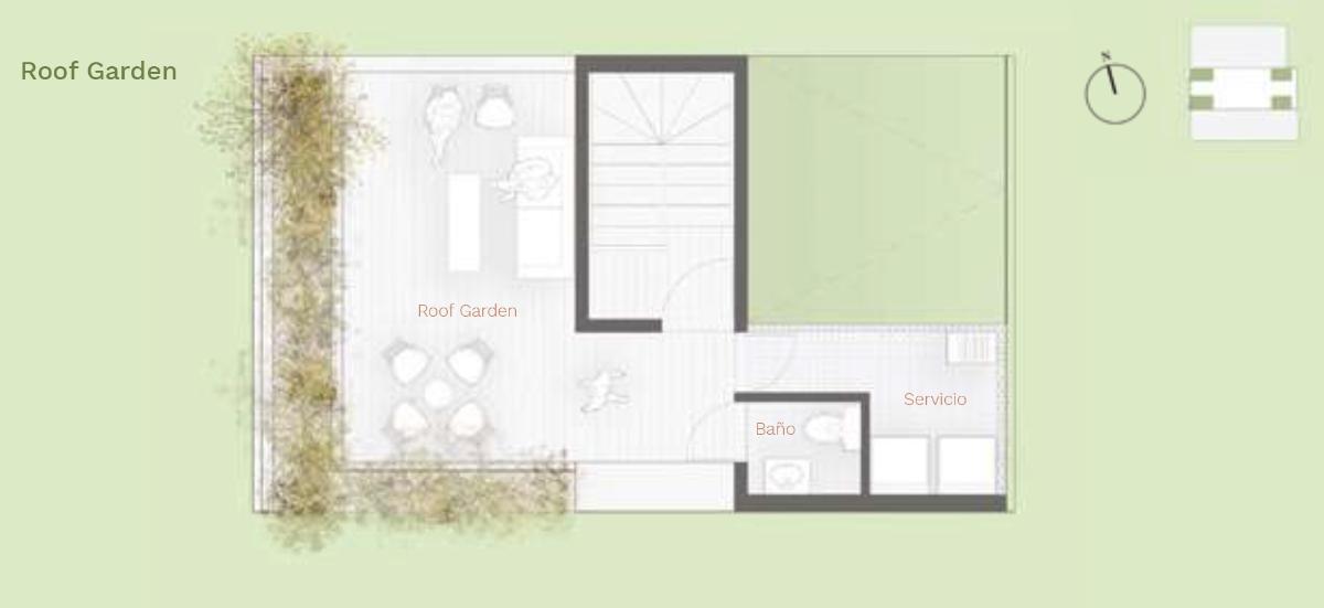 18 de 18: Townhouse  Tipo E - Roof Garden