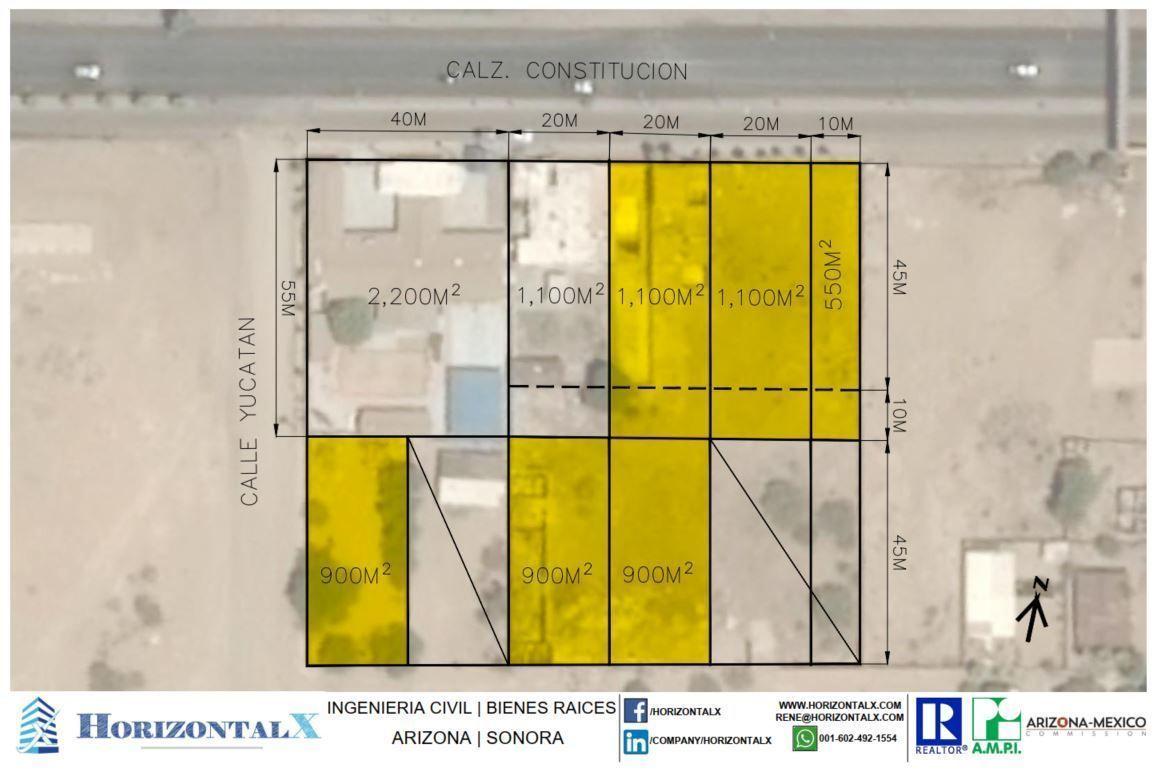1 de 7: Los terrenos marcados en amarillo son los terrenos de venta.