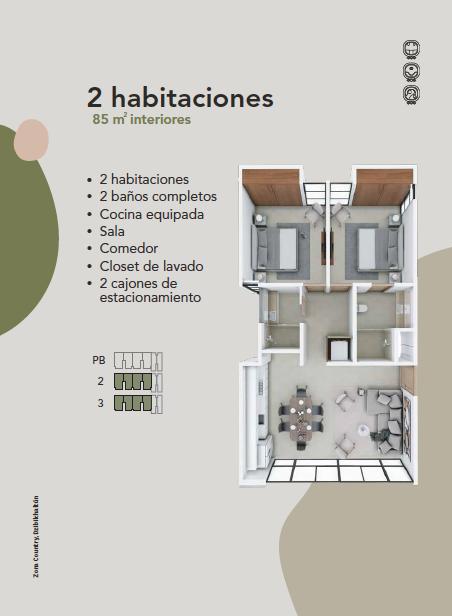 8 de 8: Departamento Preventa en Zona Country Mérida