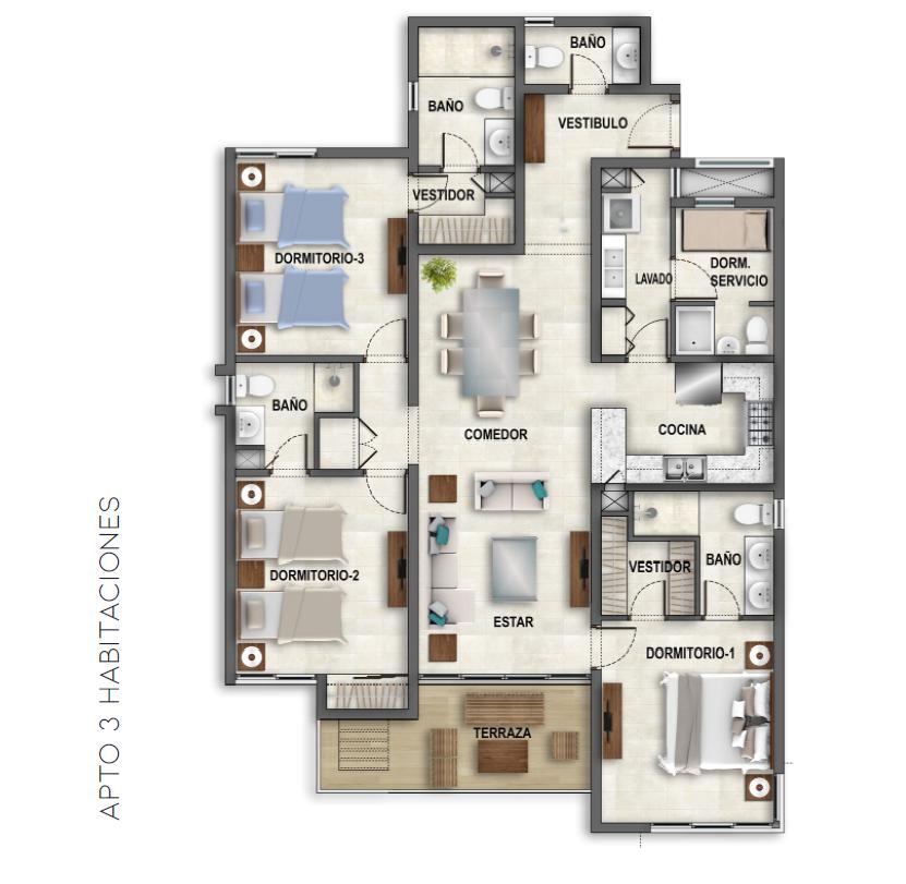 7 de 11: Plano de 3 habitaciones