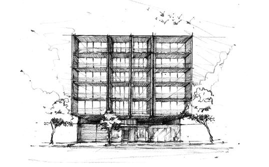 10 de 11: Dibujo de la fachada