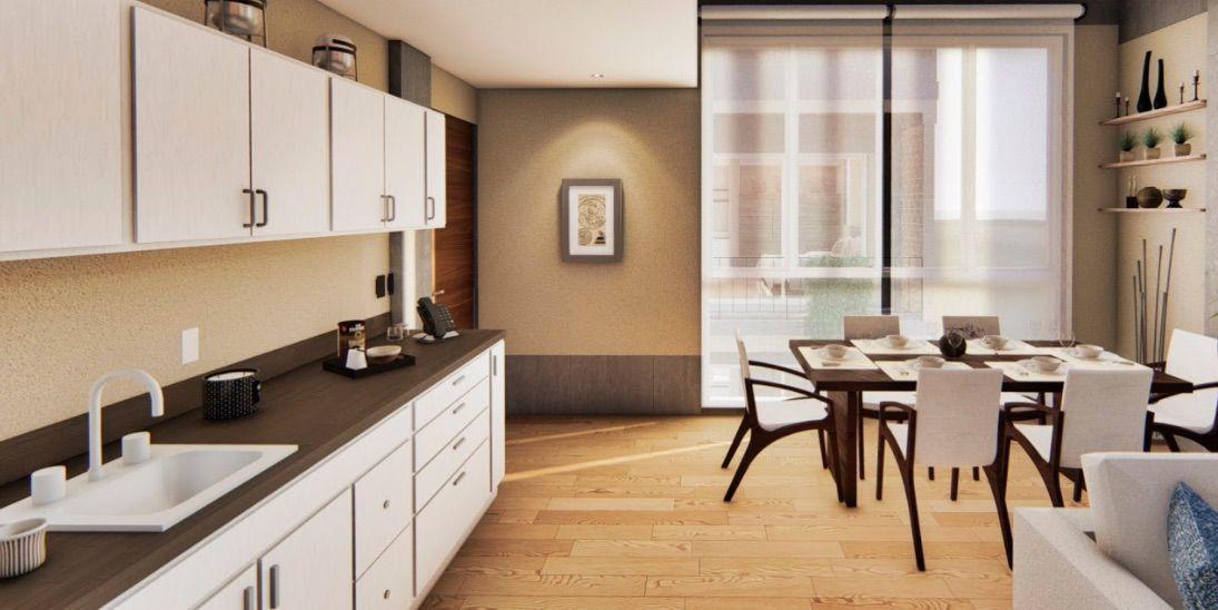 3 of 13: cocina y área común, tipología de 1 recamara