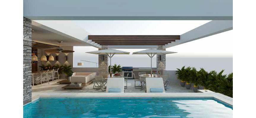 6 de 8: Piscina, terraza techada c/bar y área de BBQ