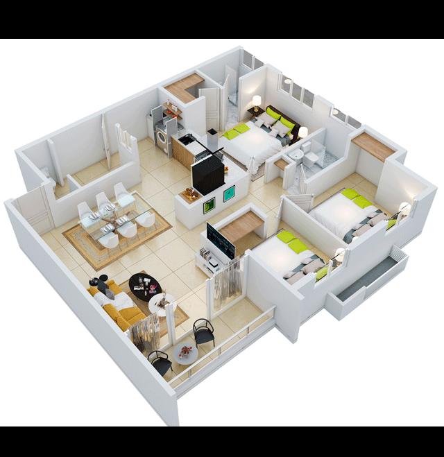 12 de 18: apartamento propio de 3 habitaciones tipo 1