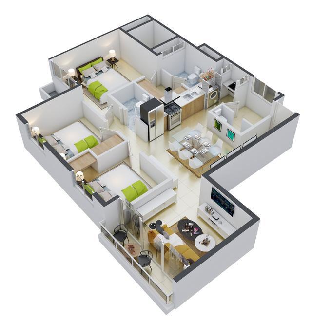13 de 18: apartamento propio de 3 habitaciones tipo 2