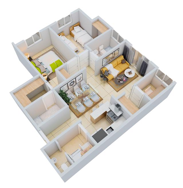 14 de 18: apartamento propio de 2 habitaciones.