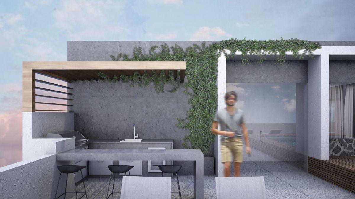 6 de 15: Roof Garden: Asador con barra y acceso desde el elevador.