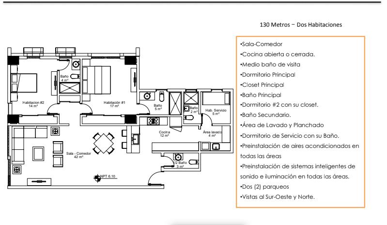 32 de 36: Apartamentos Modelo E (130 Metros – Dos Habitaciones)