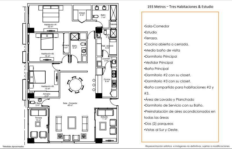 33 de 36: Apartamentos Modelo D 193 Metros – Tres Habitaciones & Est.