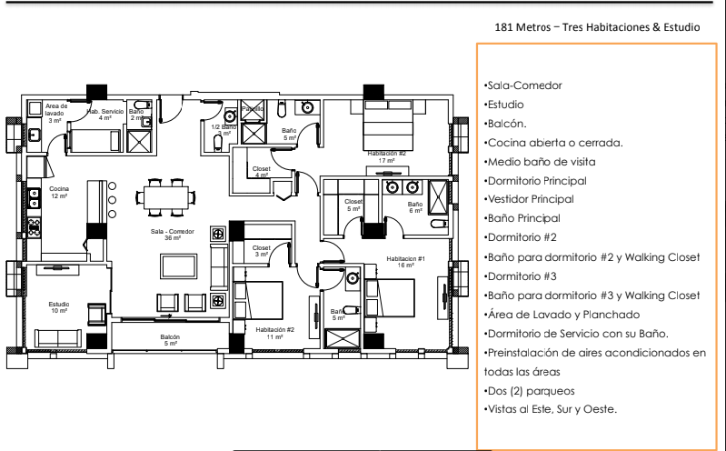 34 de 36: Apartamentos Modelo C  181 Metros – Tres Habitaciones & Est.