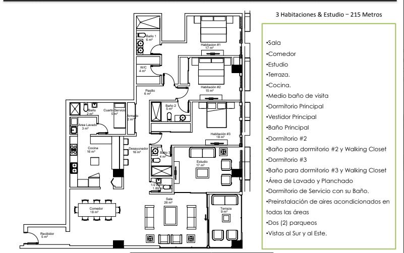 35 de 36: Apartamentos Modelo B (215 Metros – 3 Habitaciones & Est.)