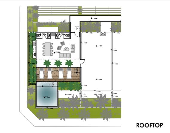 12 de 12: Plano del rooftop con amenidades