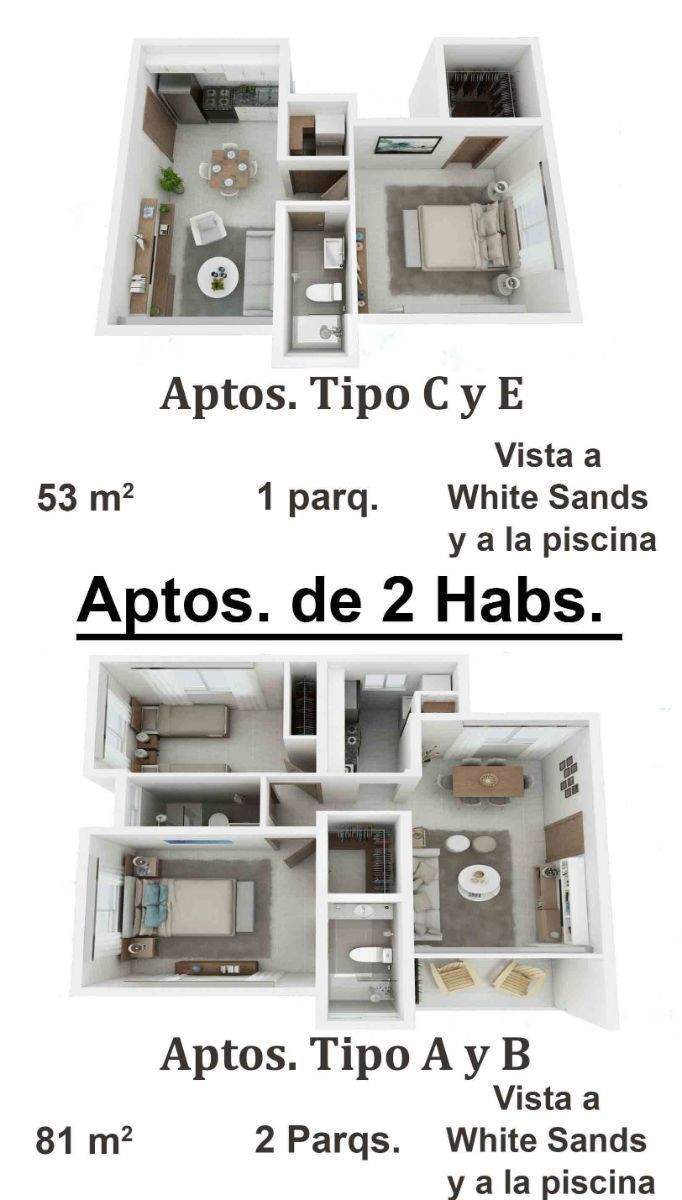 17 de 34: Apartamentos de 2 dormitorios nuevos punta cana