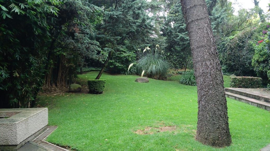 7 de 27: Jardín de gran espacio con asador