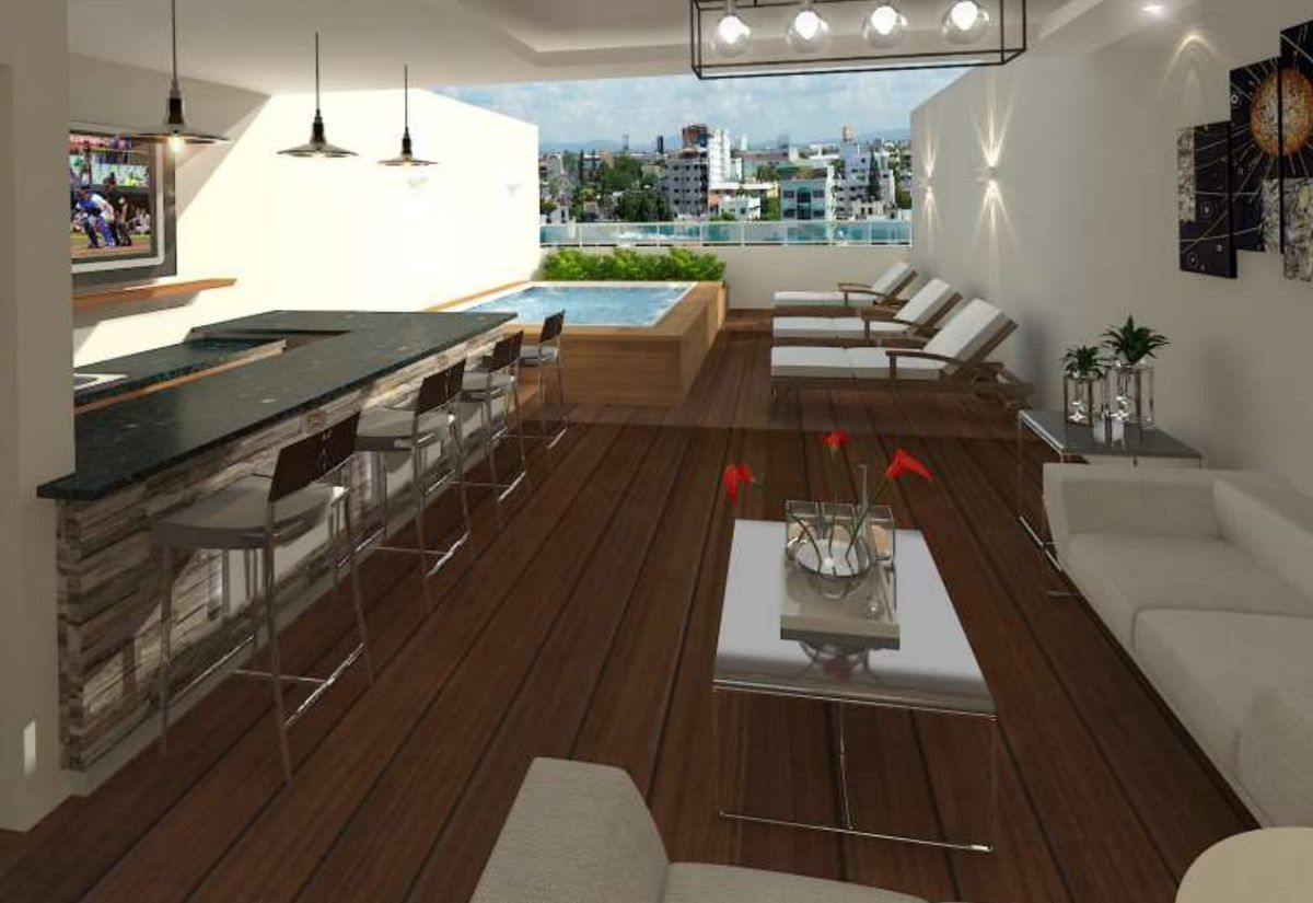 4 de 4: Área social: terraza techada, al aire libre, jacuzzi y bar