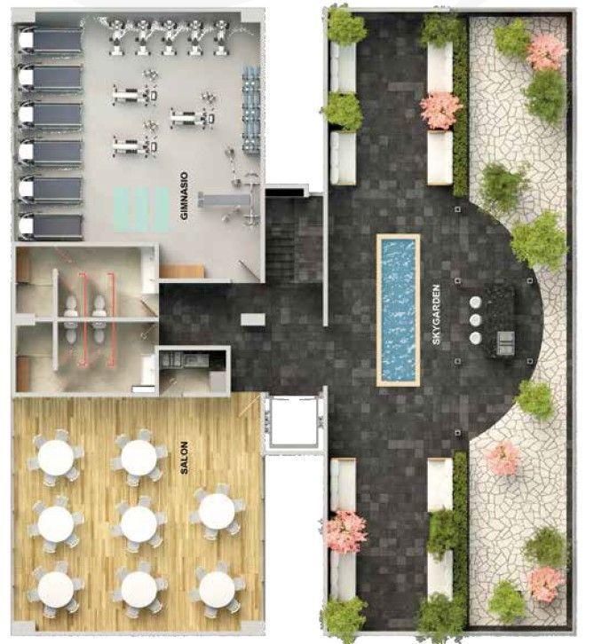 4 de 8: roof garden, gym y salón de usos multiples