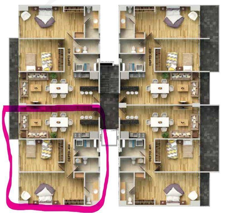 2 de 8: Distribución del departamento 404 con balcón