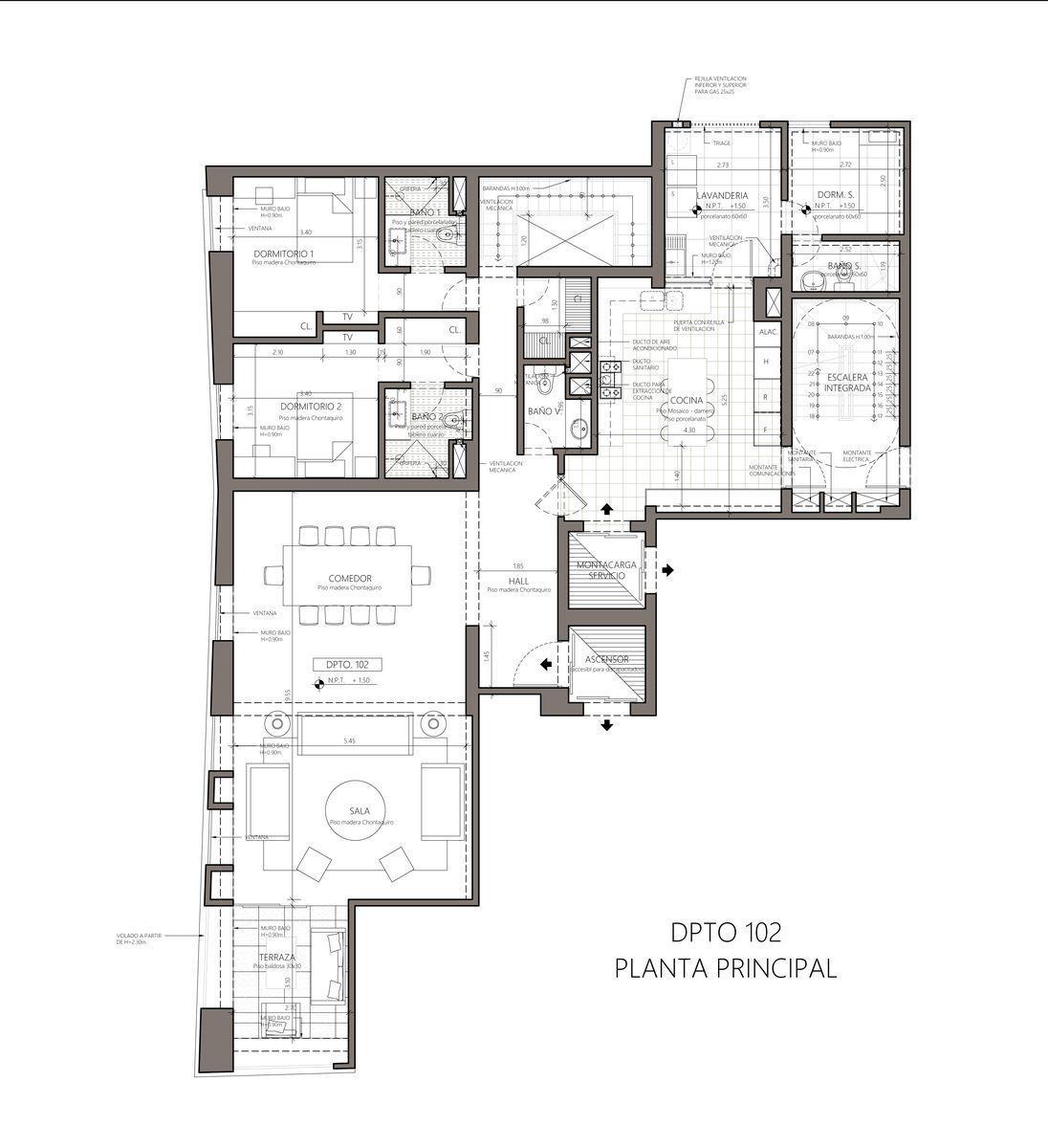 6 de 9: Plano departamento planta principal 102.