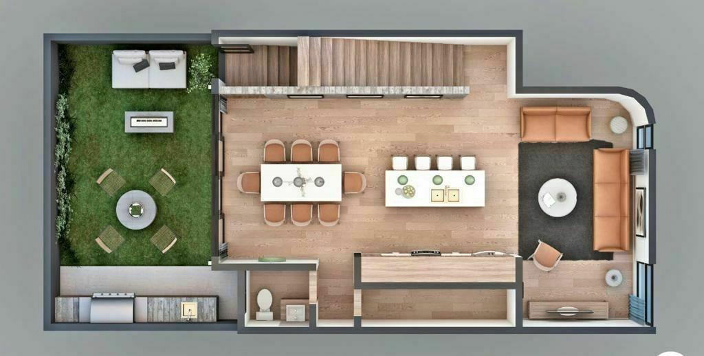 9 de 11: Sala Principal con Ventanales, Comedor, Jardin c/asador.