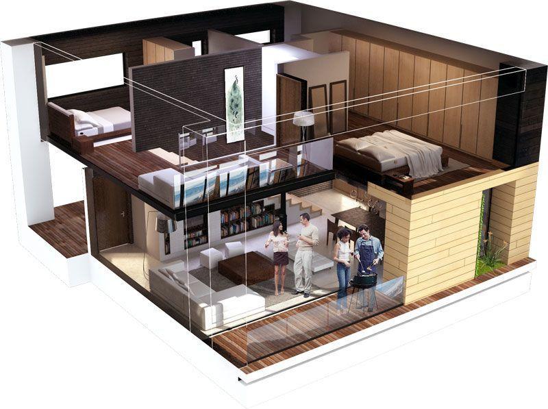 Impresionante vista desde este apartamento de dos habitaciones for Plano apartamento 3 habitaciones