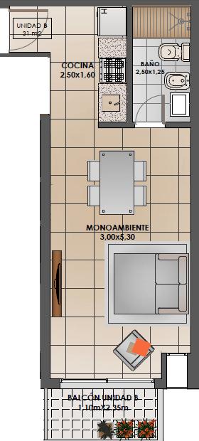 4 de 7: Monoambiente B 1° piso