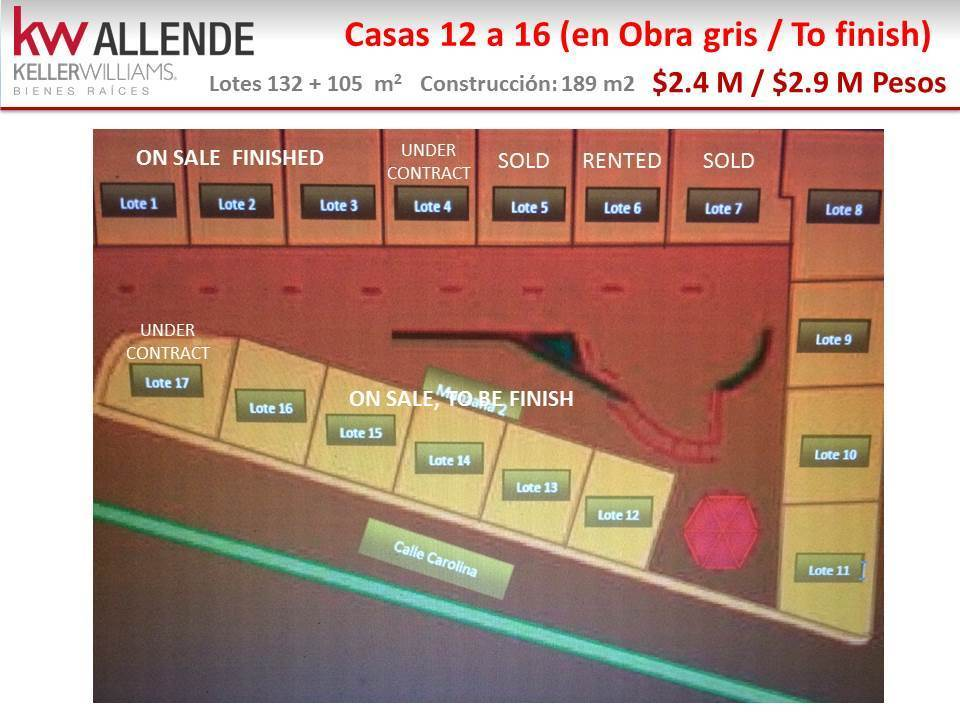 "12 of 12: Casas 12 a 16 en obra gris a solo $2,400,000 pesos ""as is"""