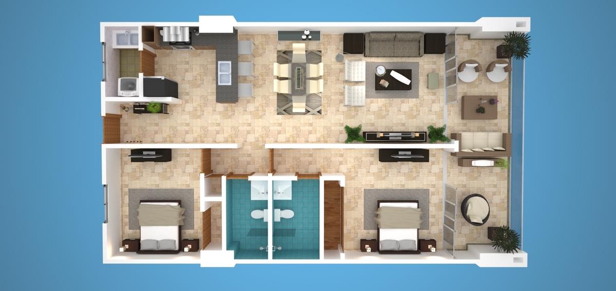 2 de 3: Plano Apartamento 2 Habitaciones