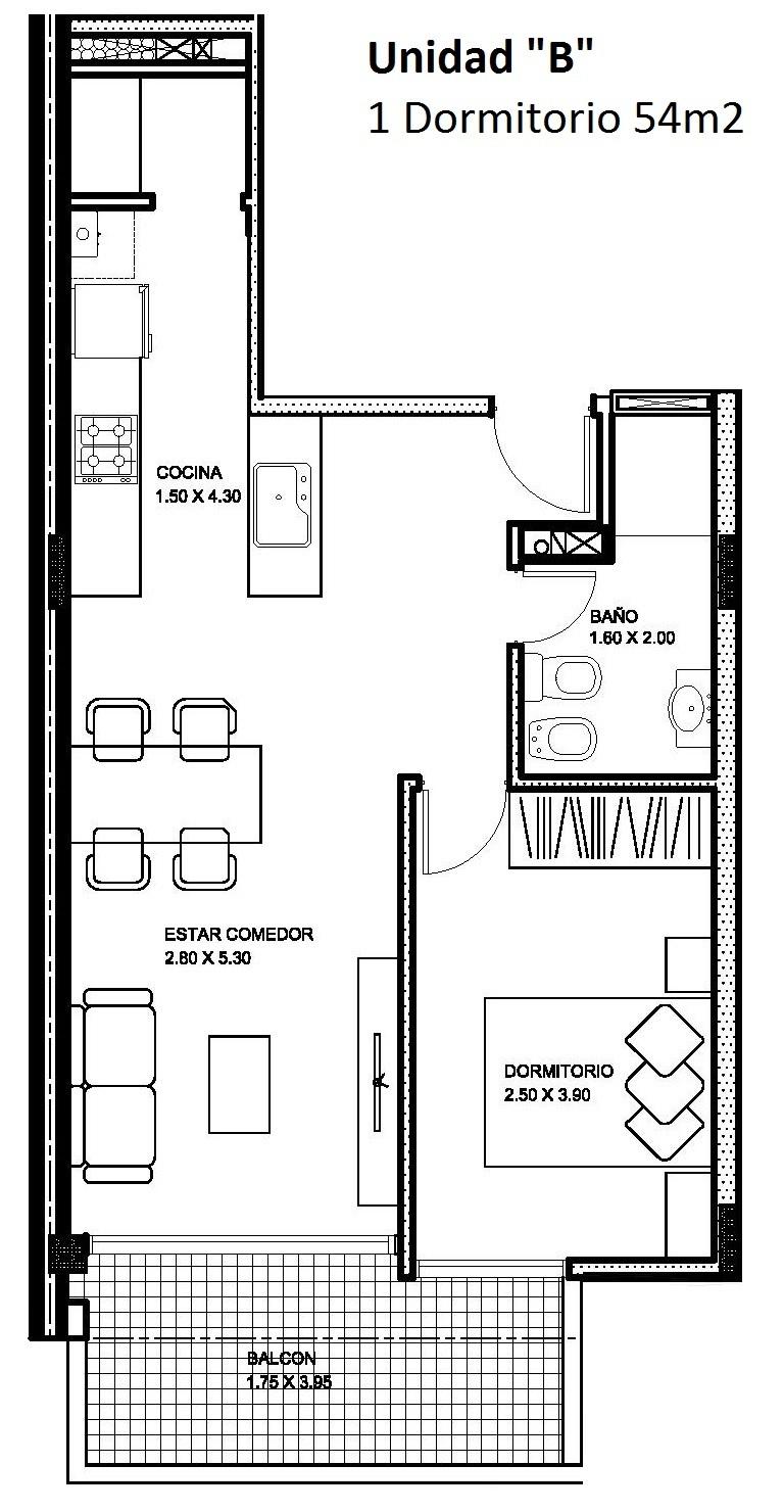 13 de 15: 1 Dormitorio B - 54m2