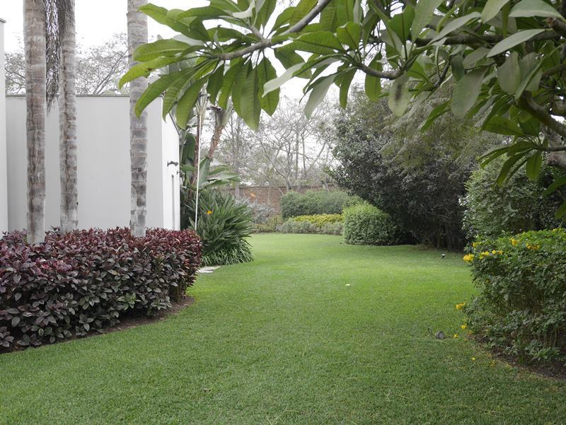 30 de 41: Jardín lateral de la casa que conduce a jardín con piscina