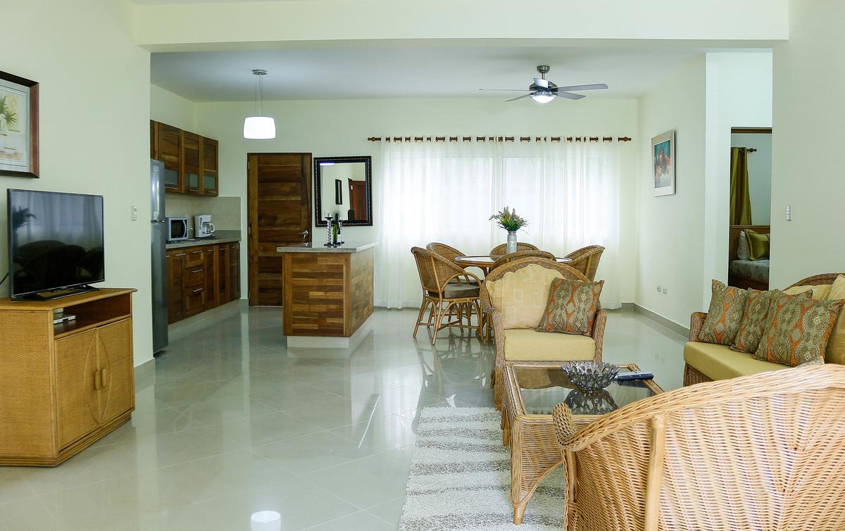 1 de 12: Vista de la sala, comedor y cocina